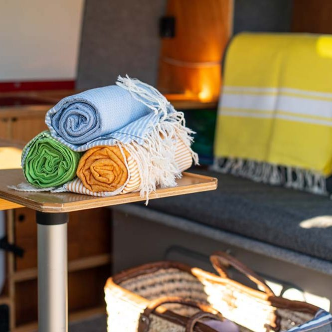 Hammam Towels in our VW T4 Camper Van
