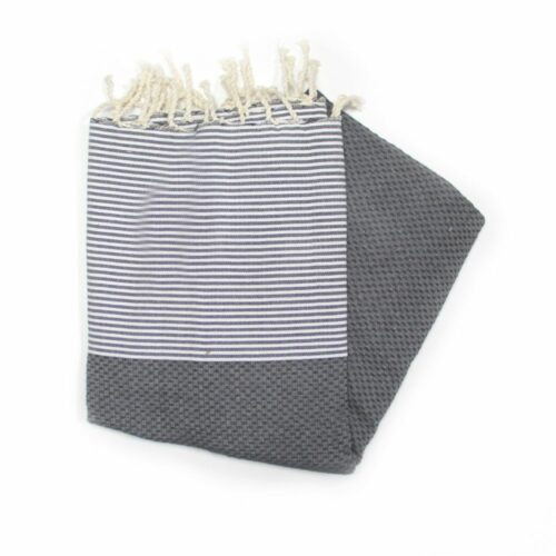 This Is Our Zanzibar Black Hammam Towel Which Has A Honeycombed Texture Mainly A Black Colour With White Stripes At Each End.