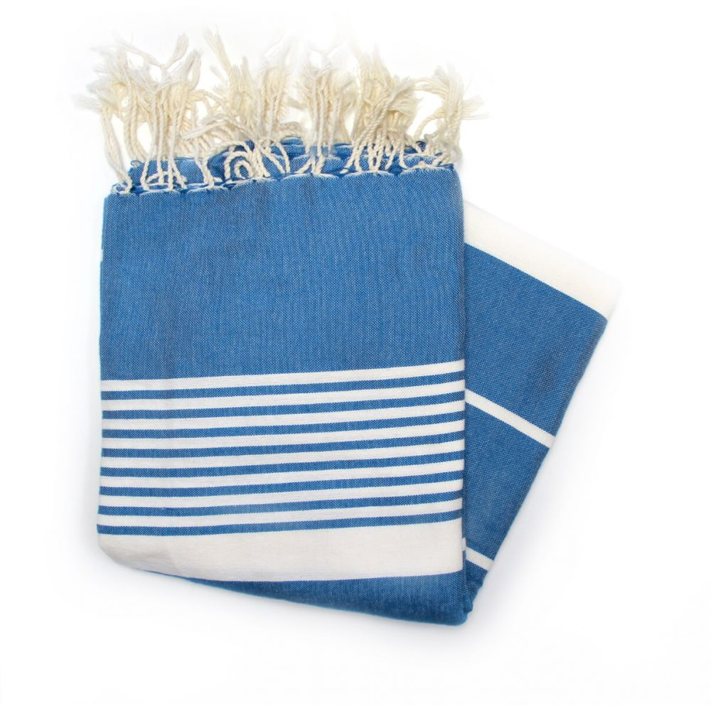 Grande Blue Hammam Fouta Towel Ideal For Sharing