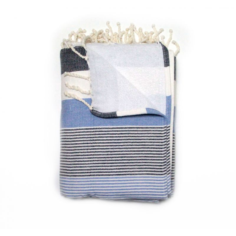 Corfu Blue -lined Hammam Towel